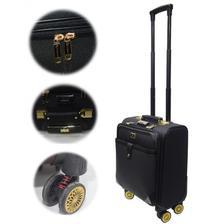 PU Leather Spinner Hard shell Zipper Rolling Trolley Bag Black