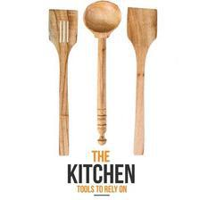 Pack of 3 Premium Kitchen Cooking Wooden Utensils - Brown - Large