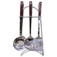 Kitchen Stainless Steel Utensils Cooking SpoonWith Stand 6 Pcs Set 16 inch
