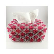 CreativeCrafts Beaded Tissue Box Pink-White (TB-BX-PW-001)