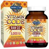 Garden of Life Raw D3 Supplement - Vitamin Code Whole Food Vitamin D3 5000 IU